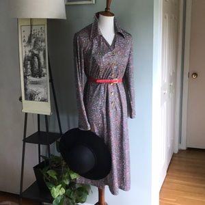 True Vintage: 70s button front midi dress